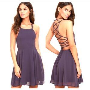 Lulu's | Good Deeds Purple Lace Up Georgette Dress